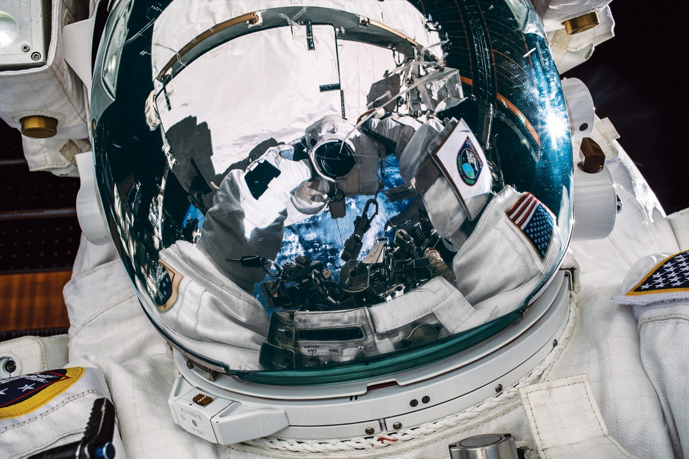 "Meir's ""space-selfie"" during a history-making spacewalk"
