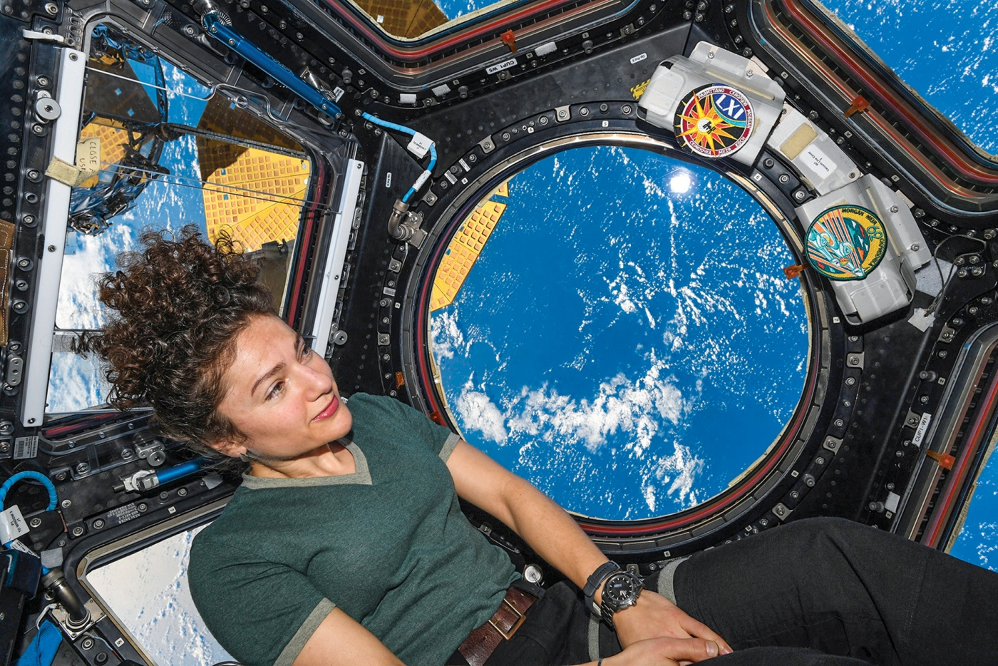 "Inside the ISS cupola that NASA calls the ""window to the world."""