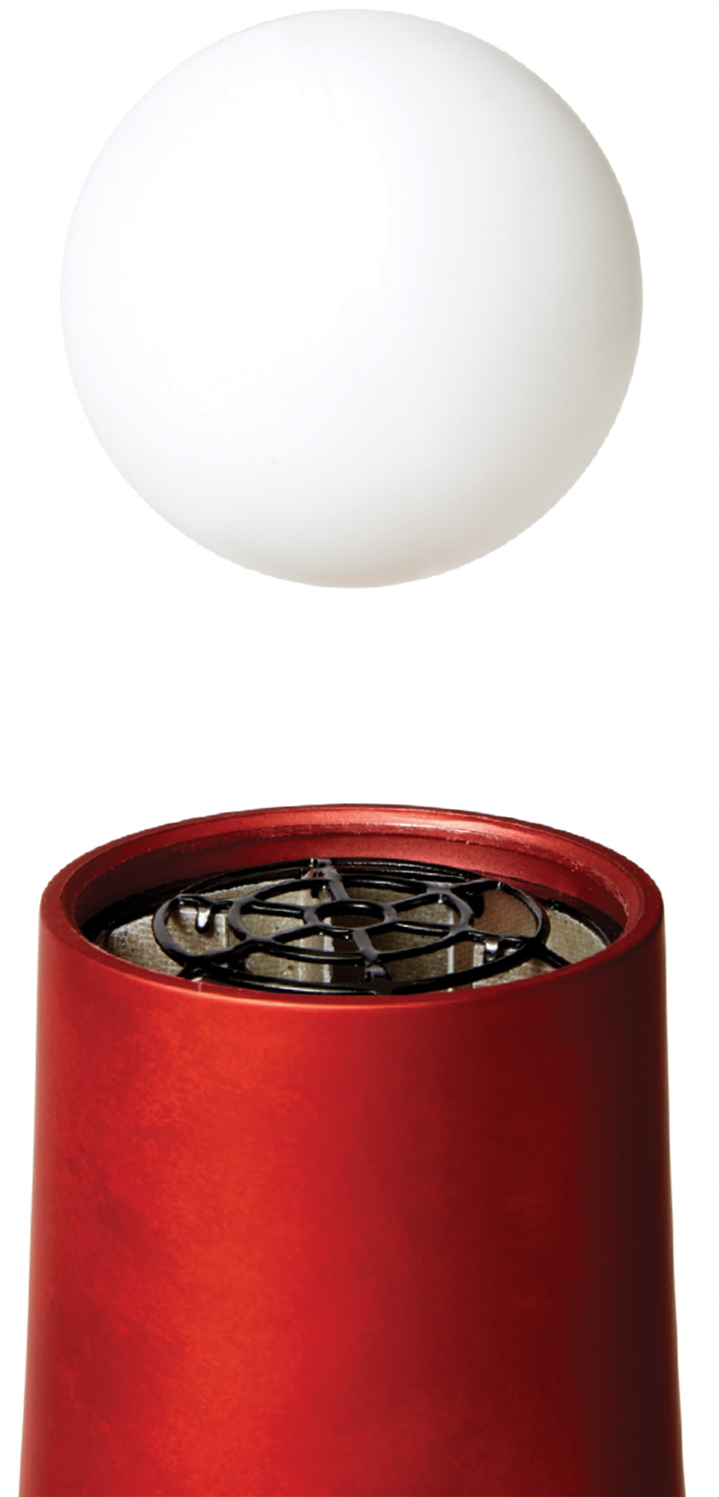 photo of a ping pong ball and hair dryer
