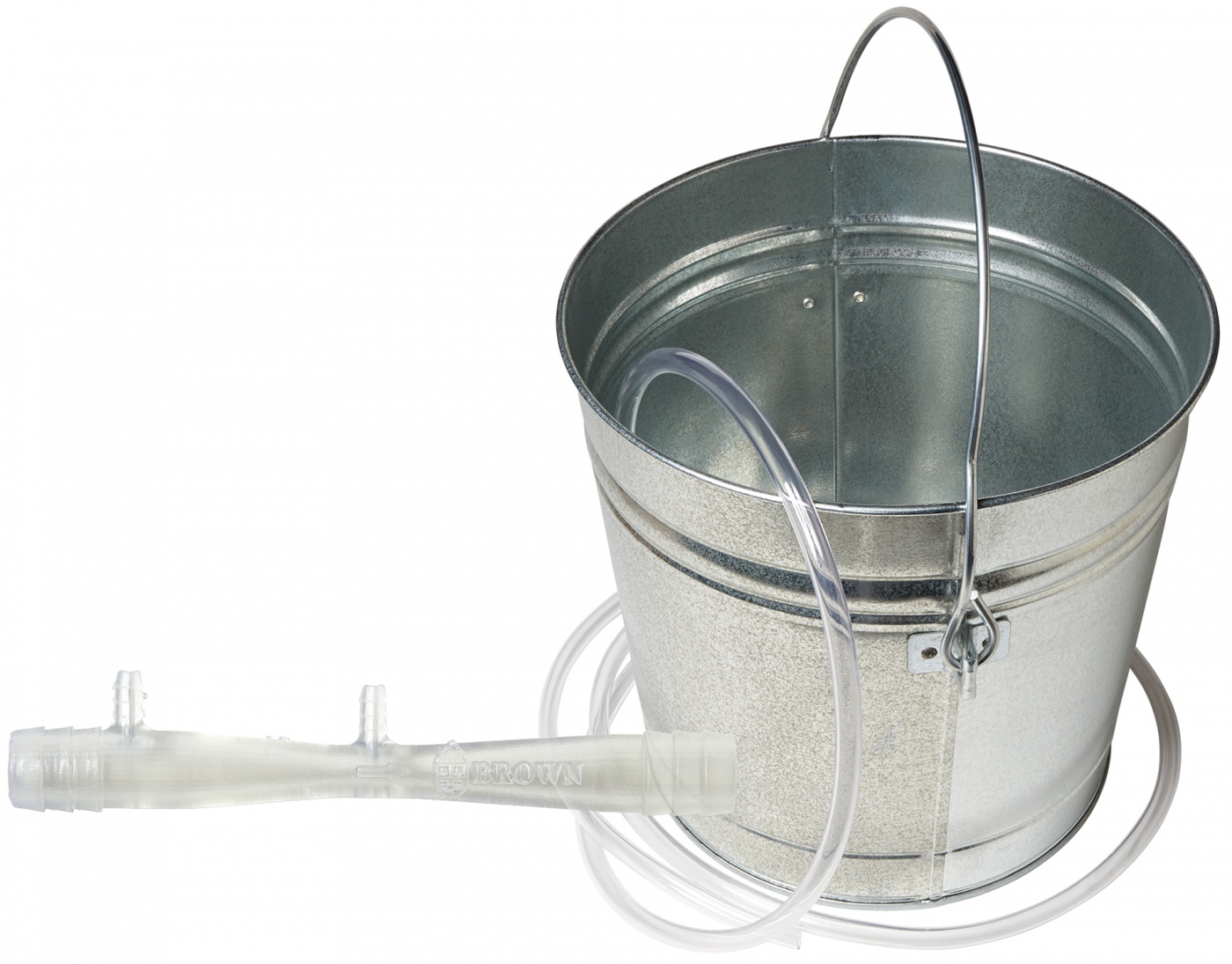 photo of a bucket and water pressure sensor