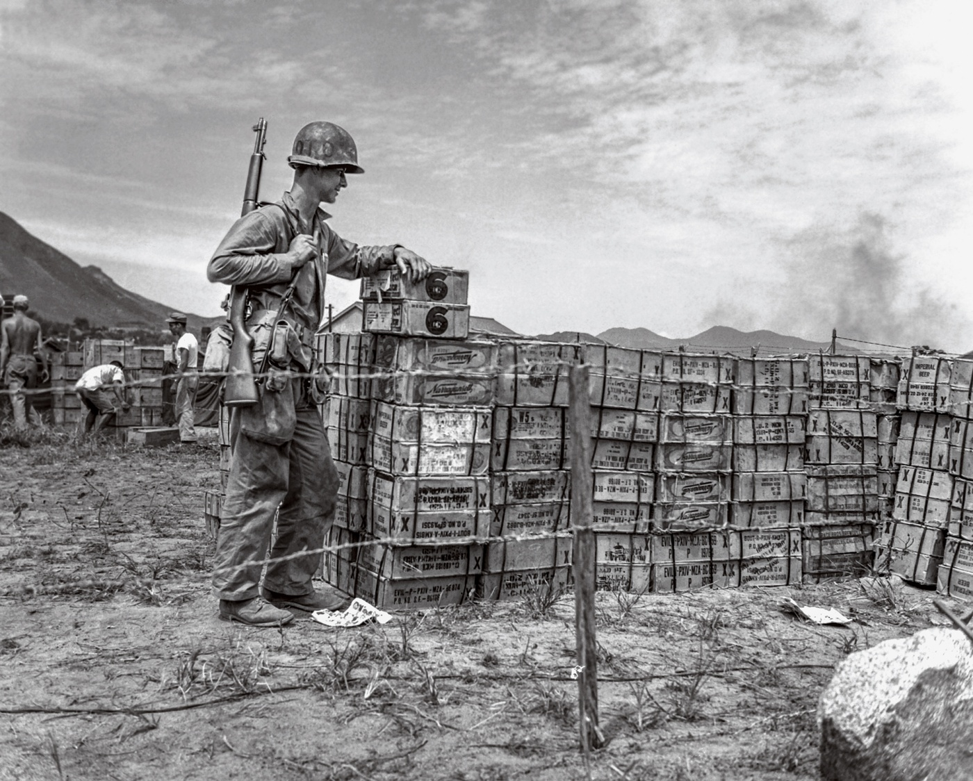 American soldier guards the beer rations