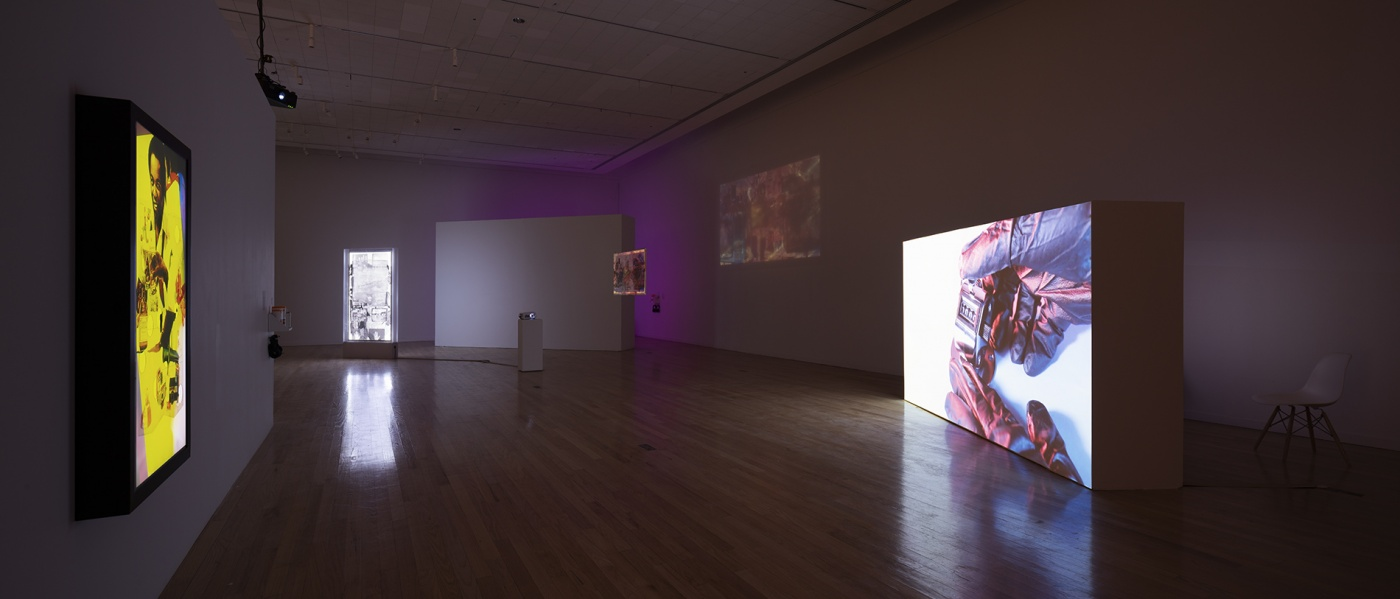 """slide 4_""""Jibade-Khalil Huffman: Now That I Can Dance,"""" 2020. Tufts University Art Galleries, installation view."""