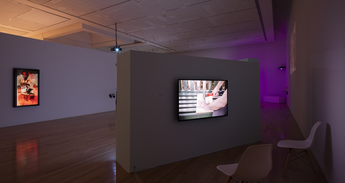 """slide 5_""""Jibade-Khalil Huffman: Now That I Can Dance,"""" 2020. Tufts University Art Galleries, installation view."""