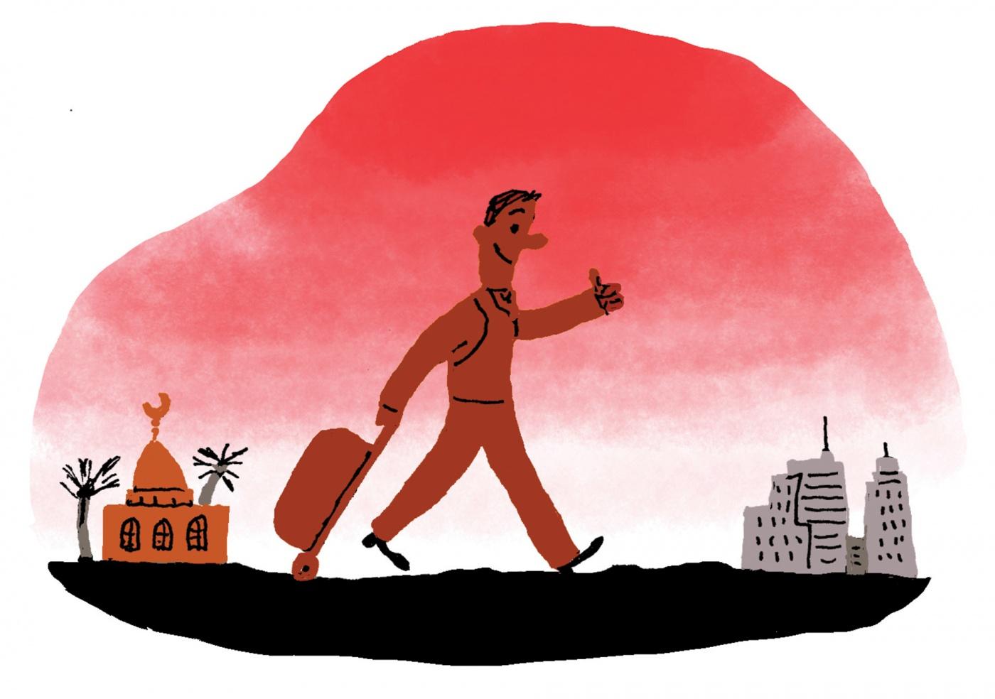 illustration of happy traveler