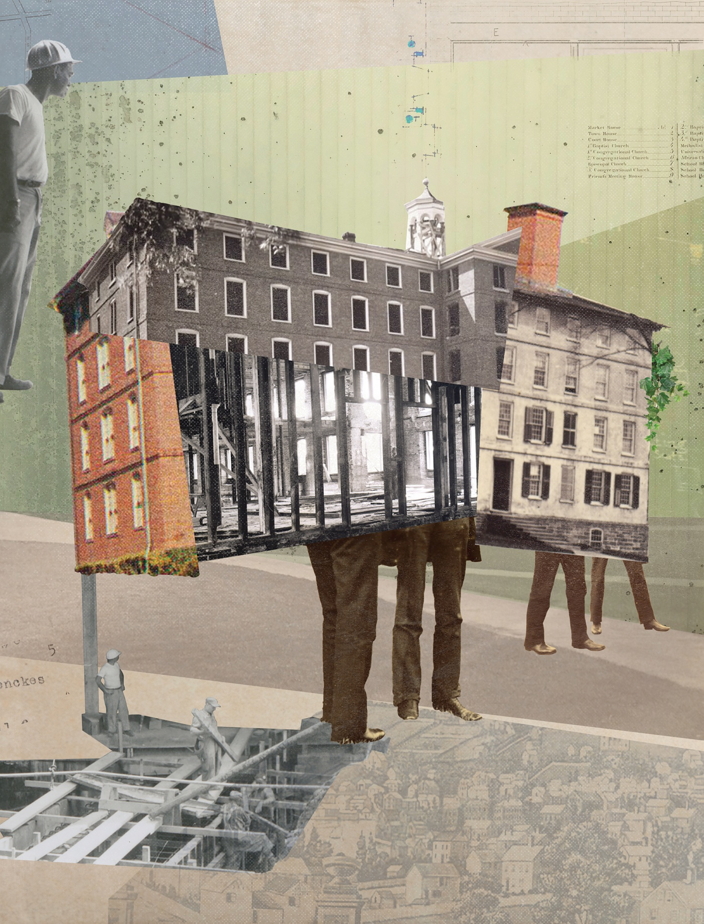 collage illo of UHall renovations