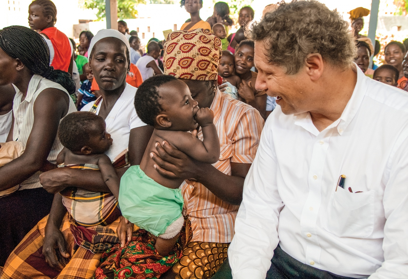 Berkley meets mothers and children at the Manhiça district hospital in Mozambique.