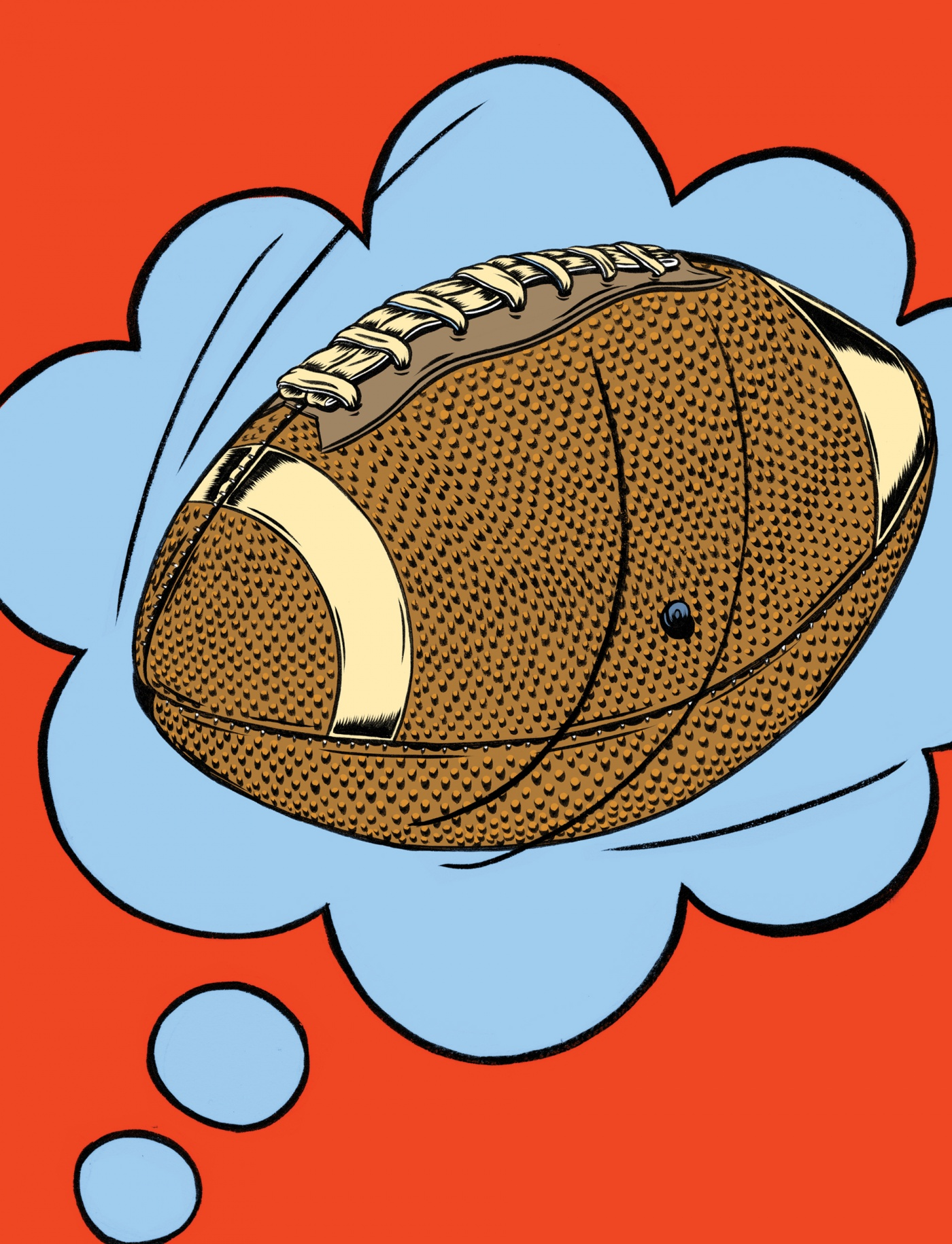 Illustration of football in a dream bubble by Kelsey Dake
