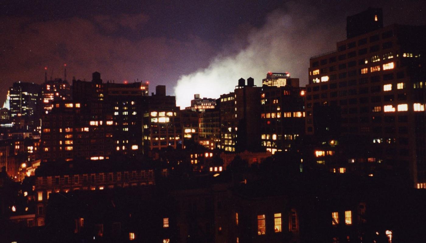 Image of smoke at world trade center tower site at night