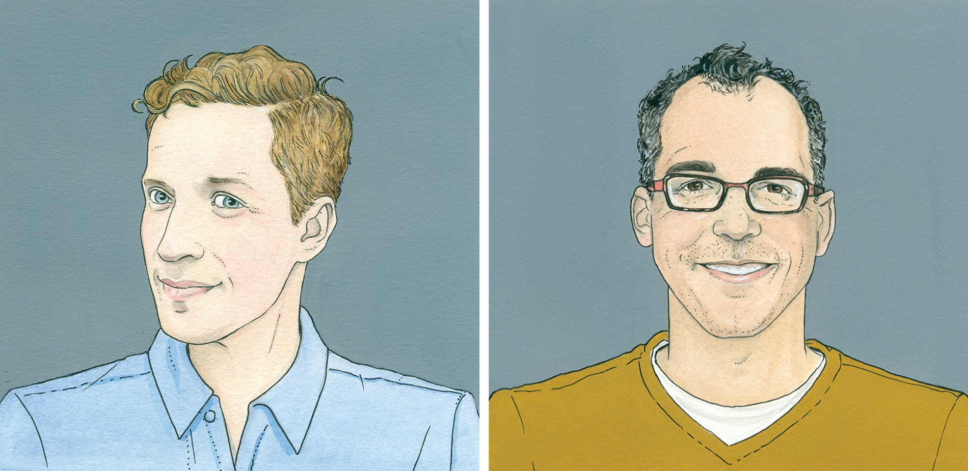 Illustrations of Andrew Sean Greer '92 (left) and James Forman Jr. '88 (right)
