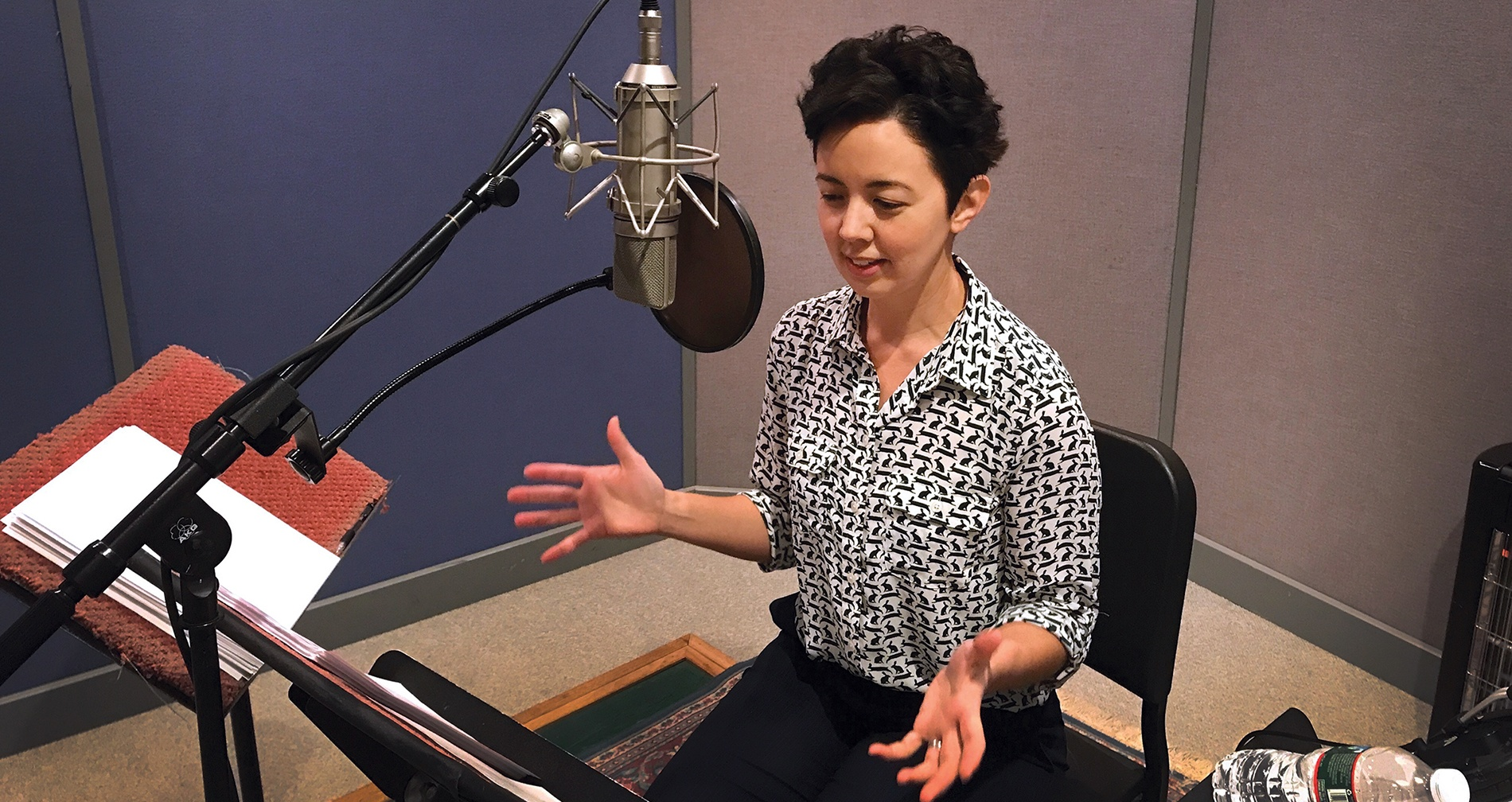 photo of Ellen Hendriksen '99 recording a podcast