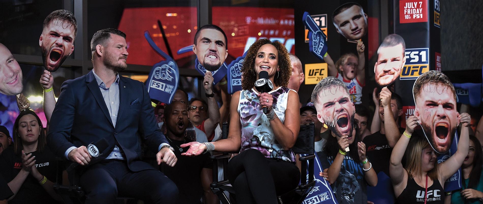 photo of Karyn Bryant '90 covering UFC International Fight Week, 2017