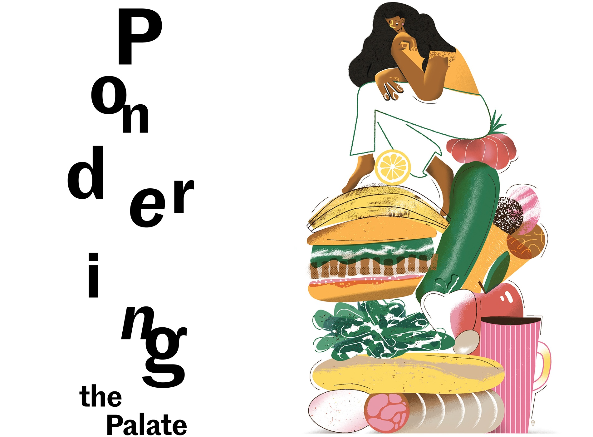 illustration of a woman atop a mountain of foodstuffs