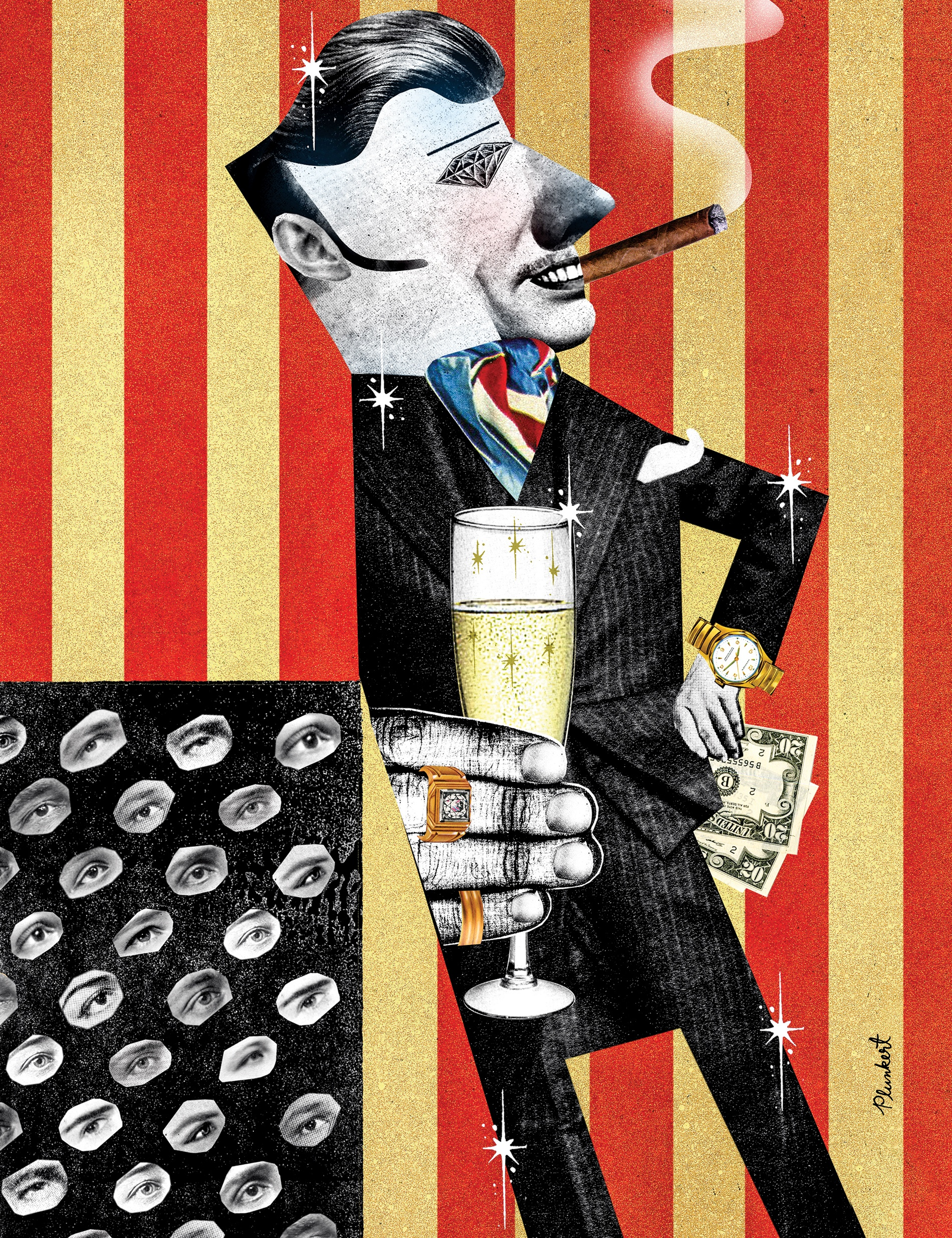 illustration of a louche rich dude, being watched by the 99%