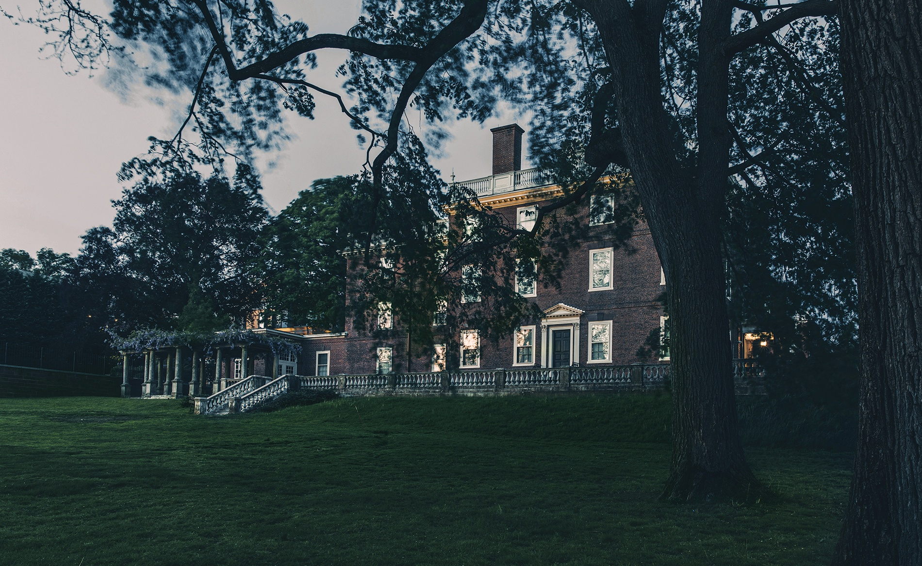 photo of John Brown House at dusk