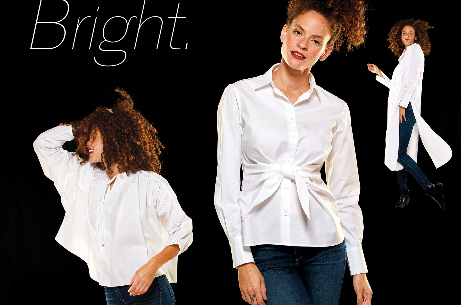 Three views of a model wearing white blouses from 2019 Gift Guide