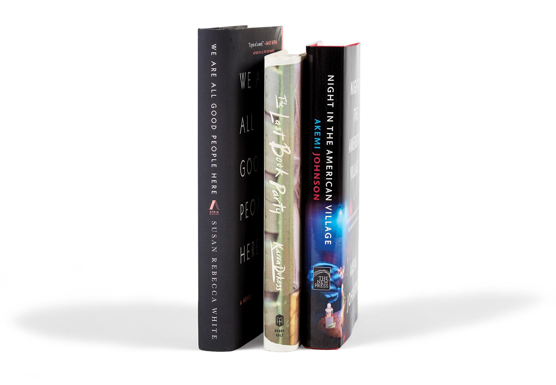 Image of books by Karen Dukess '84, Akemi Johnson '04, and Susan Rebecca White '99