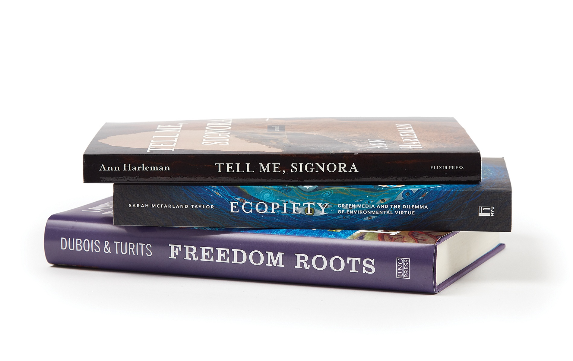 Image of books by Ann Harleman '88 AM, Sarah McFarland Taylor '90, and Richard Lee Turits '83