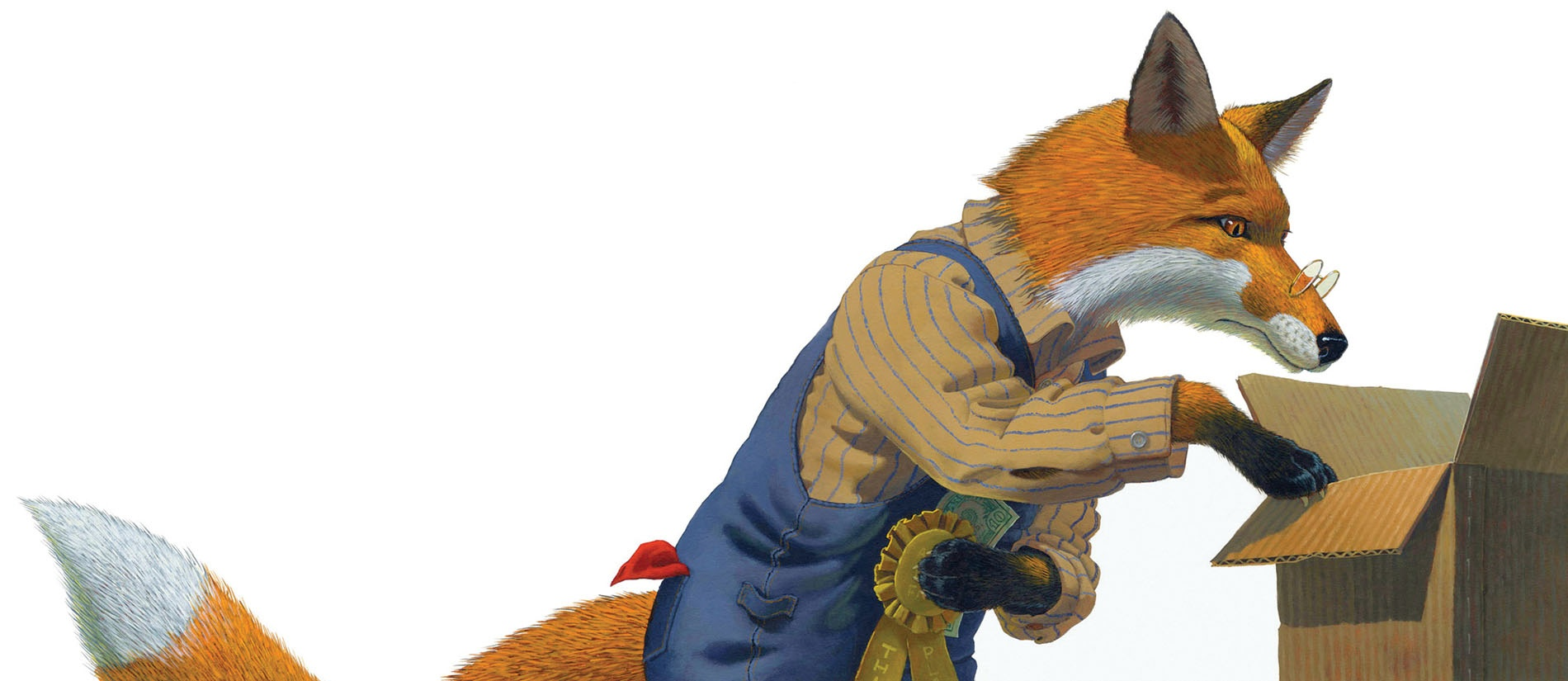 Illustration of a fox looking into a box by Brian Lies