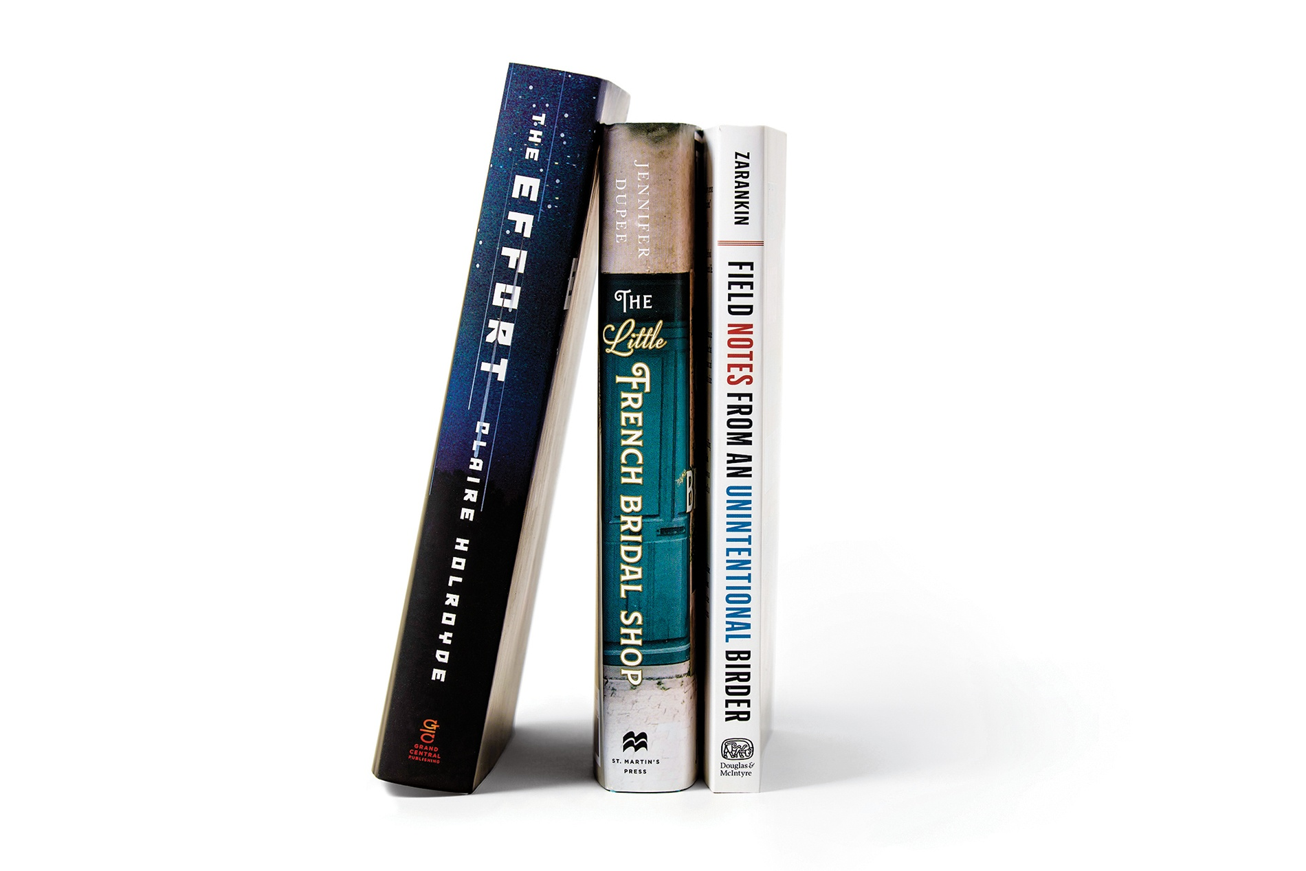 Image of books by Julia Zarankin '97, Jennifer Dupee '96, and Claire Holroyde '01