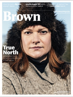 Cover of the Jan/Feb 2019 BAM, featuring professor Bathsheba Demuth in a big furry hat.