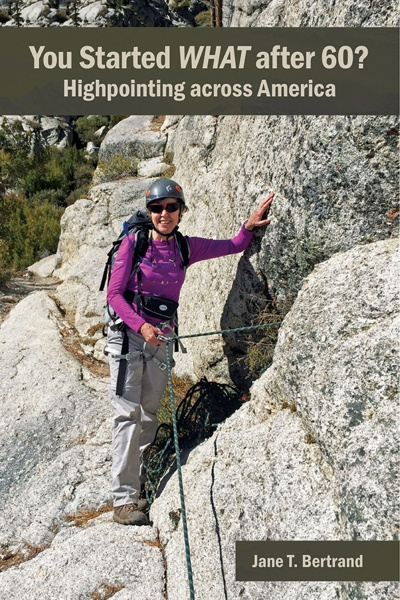 Book cover image of author in climbing gear on mountain
