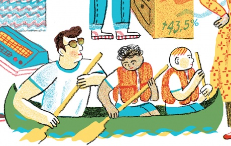 Illustration of 8 students in their summer jobs.