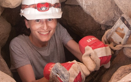 Photo of Carrie Swan Needell on an archeological dig