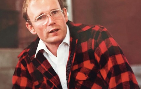 Photo of Tom Eastler '66 in a red/black plaid coat