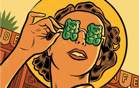 illustration of a woman wearing sunglasses with gummies for lenses