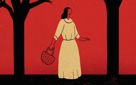 Illustration of a woman lost in the woods