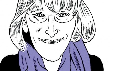 Drawing of Susan Greenfield '83 writing in a book