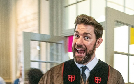 John Krasinski before the Baccalaureate address