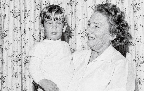 Photograph of John F. Kennedy Jr. '83 as a child with his grandmother