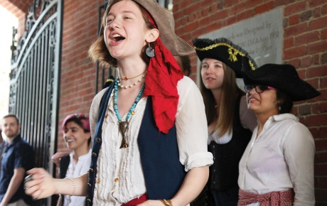 The Pirate Scummy (Charlotte Senders '18) sings out during a Reunion event in May.