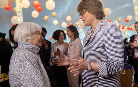 Photo of CPaxson speaking with Janet Yellen