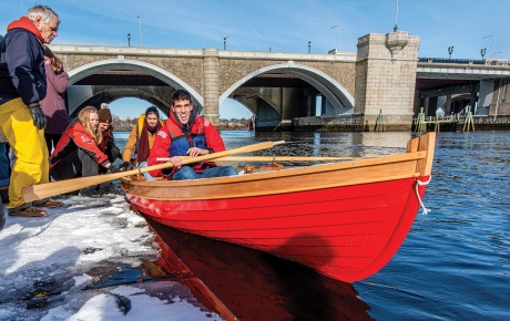 Boatbuilding students take a test ride