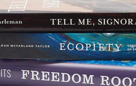 Image of books by Ann Harleman '88 AM, Sarah McFarland Taylor '90, and Richard Lee Turits '83