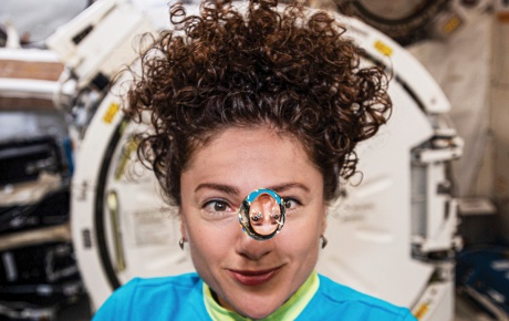 Jessica Meir '99 plays with a water droplet in space