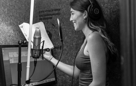 Barker in a closet recording