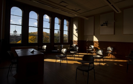 Empty classroom image by Nick Dentamaro/Brown University